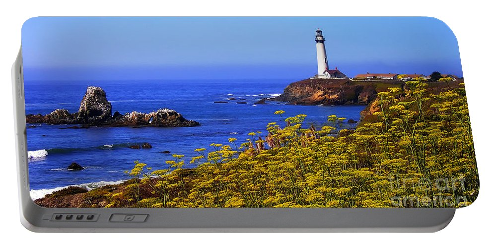 Pigeon Point Portable Battery Charger featuring the photograph Pigeon Point Lighthouse Panoramic by Mike Nellums