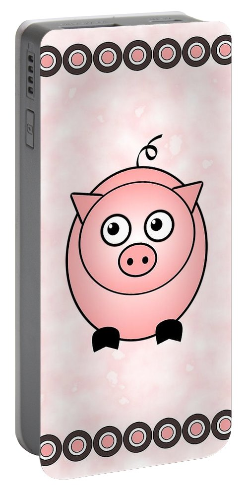 Pig Portable Battery Charger featuring the digital art Piggy - Animals - Art For Kids by Anastasiya Malakhova