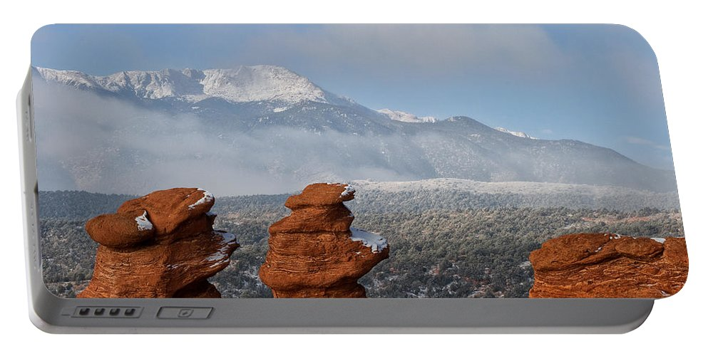 Garden Of The Gods Portable Battery Charger featuring the photograph Pikes Peak In The Clouds by Ronda Kimbrow
