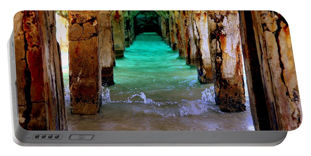 Waterscapes Portable Battery Charger featuring the photograph Pillars Of Time by Karen Wiles