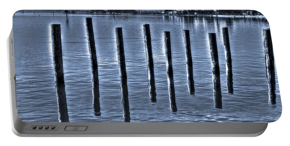 Bay Portable Battery Charger featuring the photograph pillars on the Bay by SC Heffner