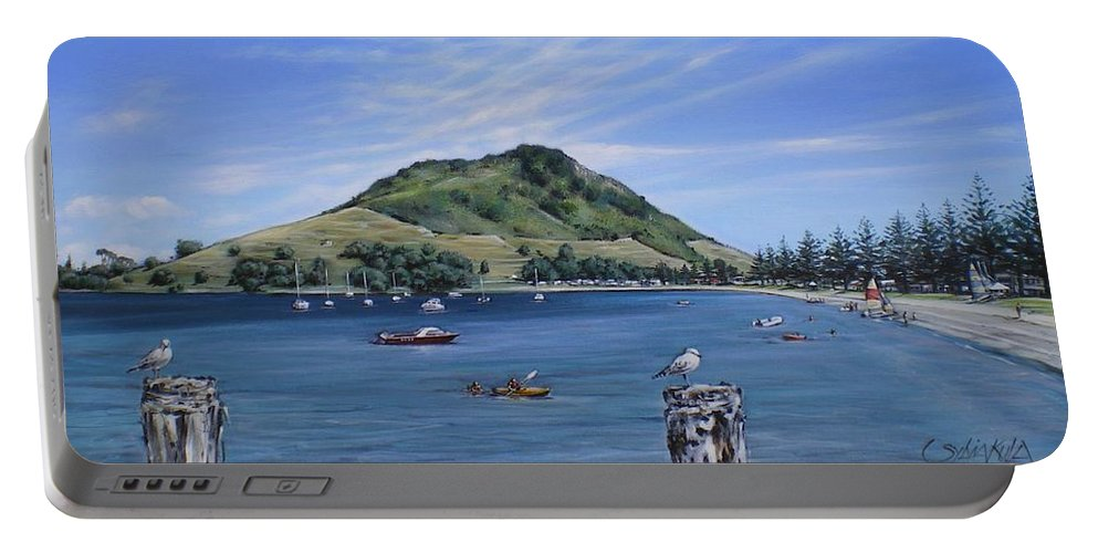 Beach Portable Battery Charger featuring the painting Pilot Bay Mt M 291209 by Sylvia Kula