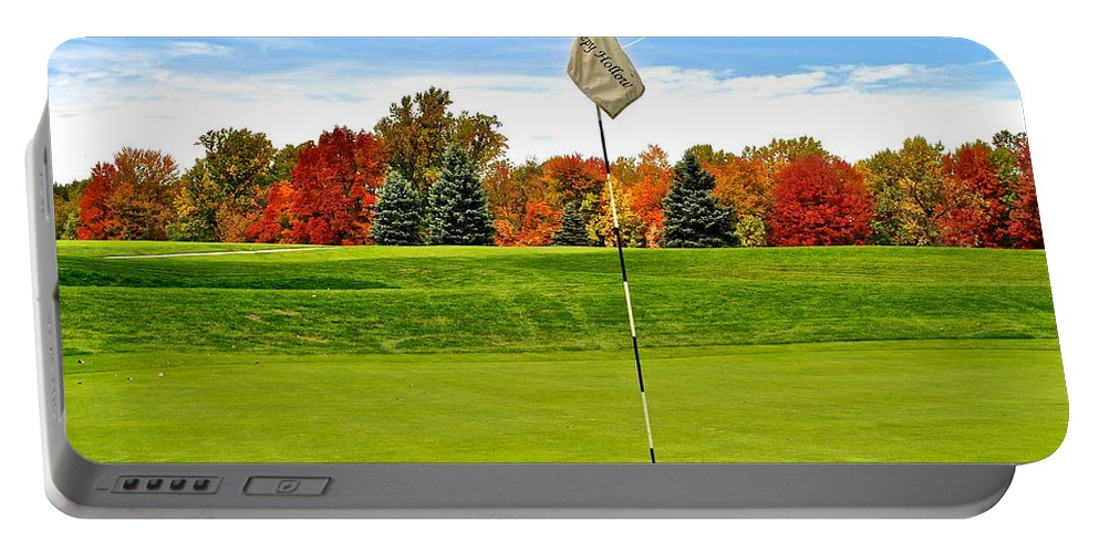 Golf Portable Battery Charger featuring the photograph Pin High by Frozen in Time Fine Art Photography