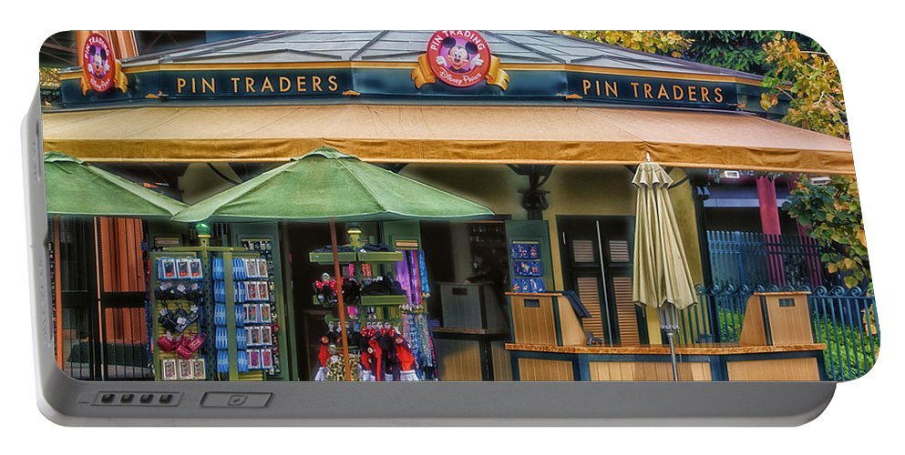 Disney Portable Battery Charger featuring the photograph Pin Traders Downtown Disneyland 02 by Thomas Woolworth