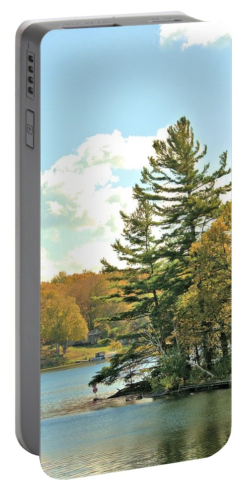 Pine Tree Portable Battery Charger featuring the photograph Pine By The Water by Valerie Kirkwood