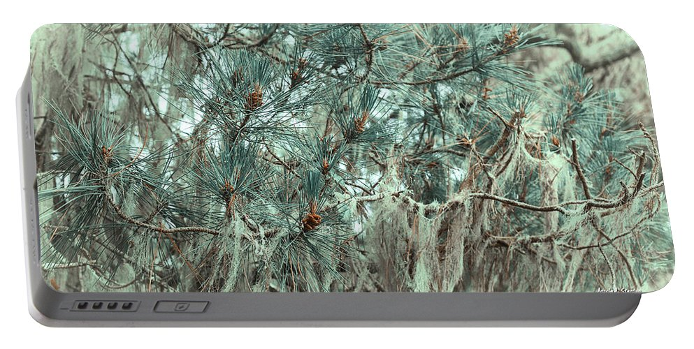 Pine Portable Battery Charger featuring the photograph Pine Cones And Lace Lichen by Angela Stanton