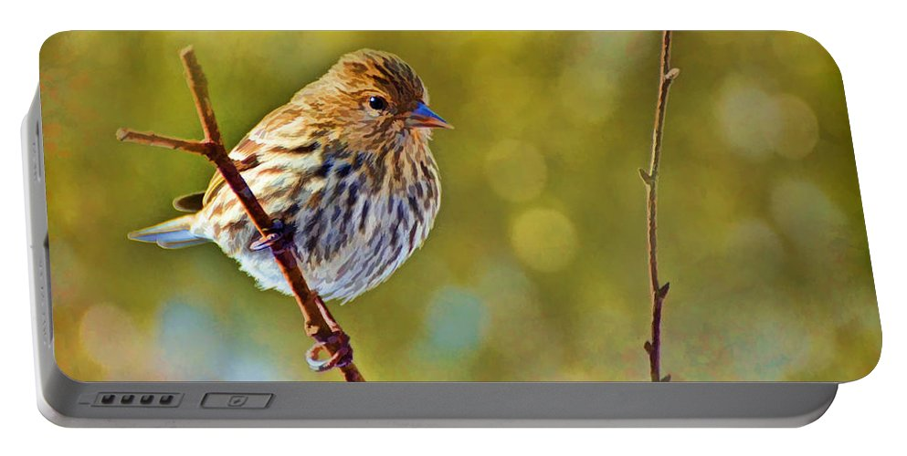 Bird Portable Battery Charger featuring the photograph Pine Siskin - Digital Paint by Debbie Portwood