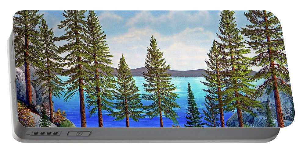 Gouache Portable Battery Charger featuring the painting Pine Woods Lake Tahoe by Frank Wilson