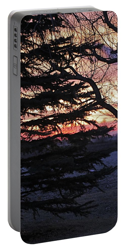 Sunset Portable Battery Charger featuring the photograph Piney Sunset by Wayne Williams