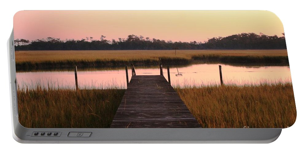 Pink Portable Battery Charger featuring the photograph Pink And Orange Morning On The Marsh by Nadine Rippelmeyer
