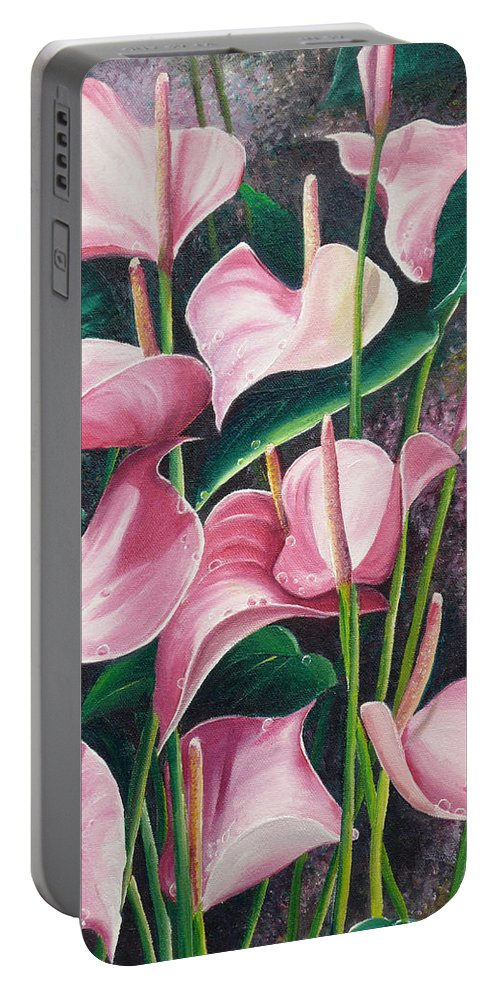Floral Flowers Lilies Pink Portable Battery Charger featuring the painting Pink Anthuriums by Karin Dawn Kelshall- Best