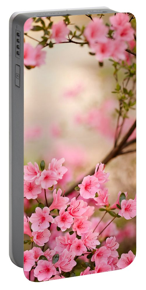 Flowers Portable Battery Charger featuring the photograph Pink Azalea Bush by Leslie Banks