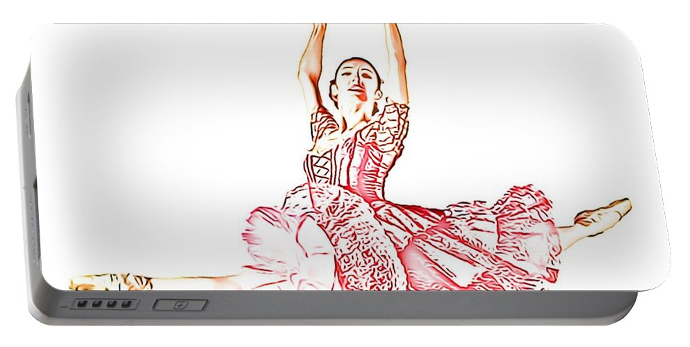 Pink Ballerina Portable Battery Charger featuring the digital art Pink Ballerina by Catherine Lott