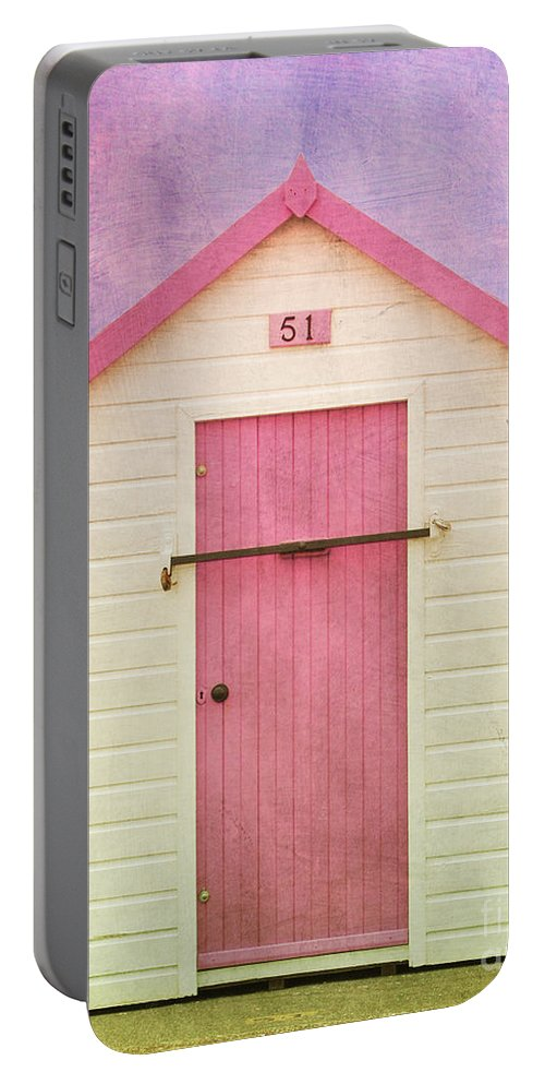 Beach Hut With Texture Portable Battery Charger featuring the photograph Pink Beach Hut by Terri Waters