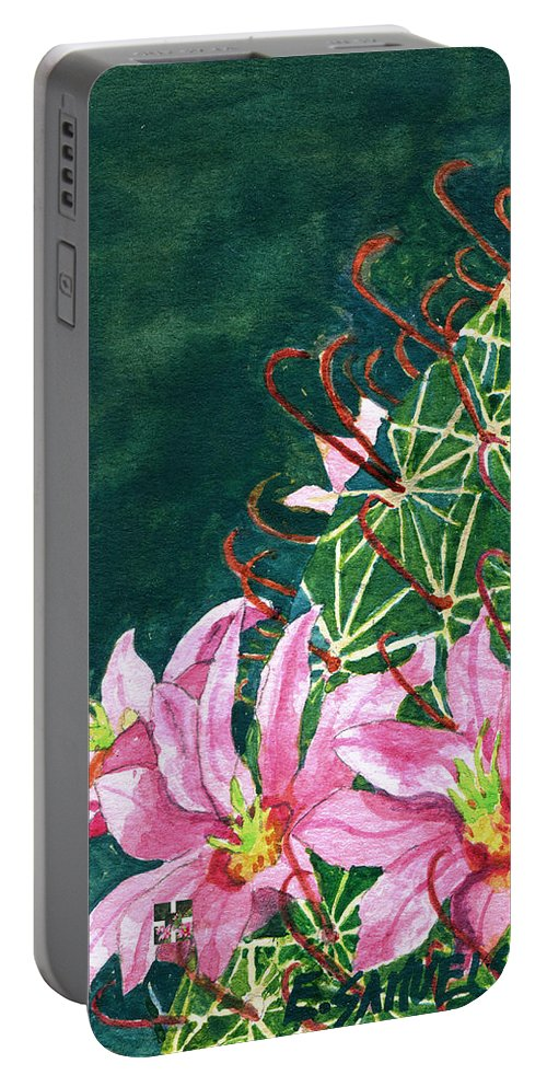 Fishhook Barrel Portable Battery Charger featuring the painting Pink Beauty by Eric Samuelson