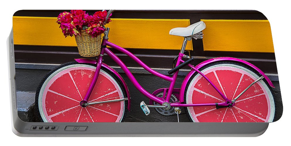 Pink Portable Battery Charger featuring the photograph Pink Bike by Garry Gay