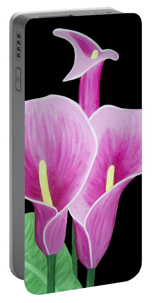Flowers Portable Battery Charger featuring the painting Pink Calla Lilies 1 by Angelina Vick