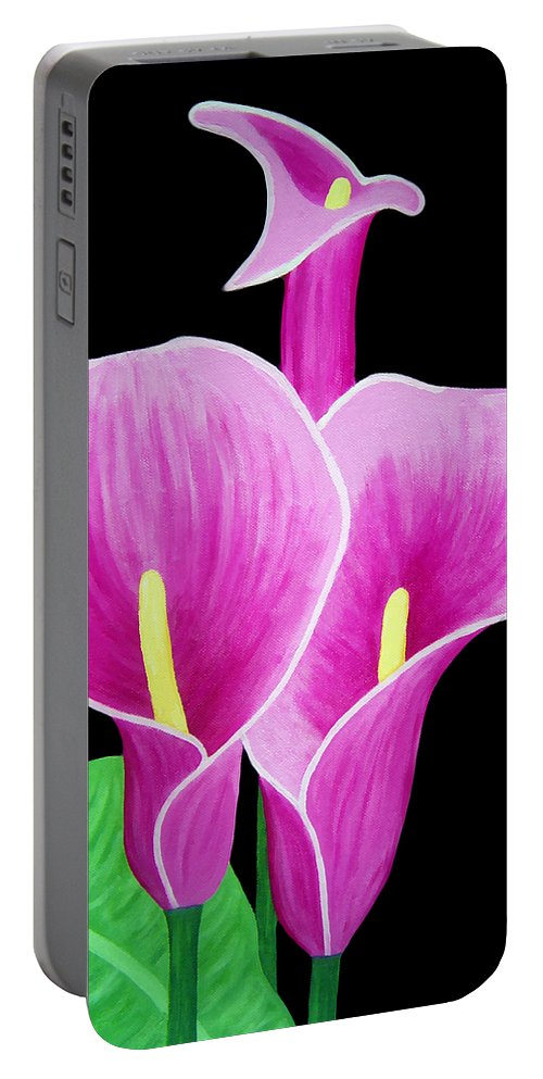 Pink Portable Battery Charger featuring the painting Pink Calla Lillies 2 by Angelina Vick