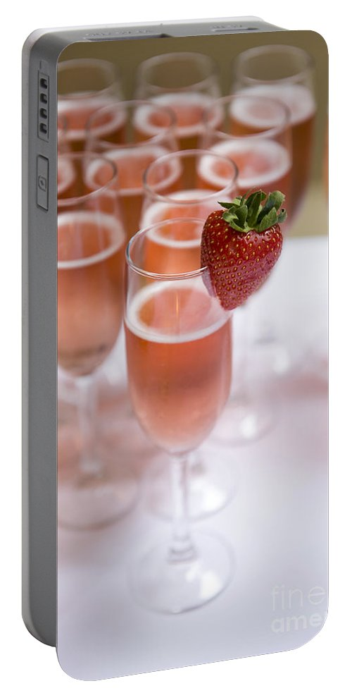 Champagne Portable Battery Charger featuring the photograph Pink Champagne And Strawberry by Lee Avison