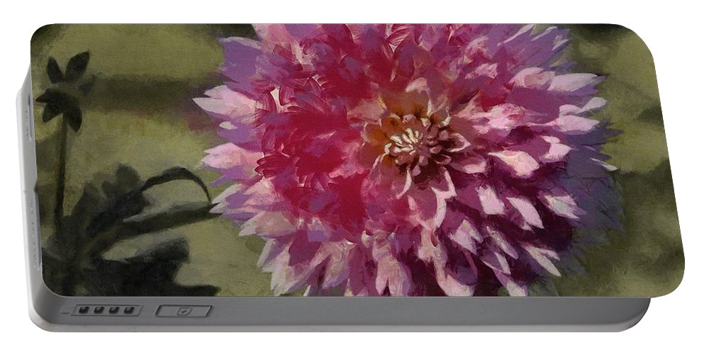 Pink Portable Battery Charger featuring the painting Pink Dahlia by Jeffrey Kolker