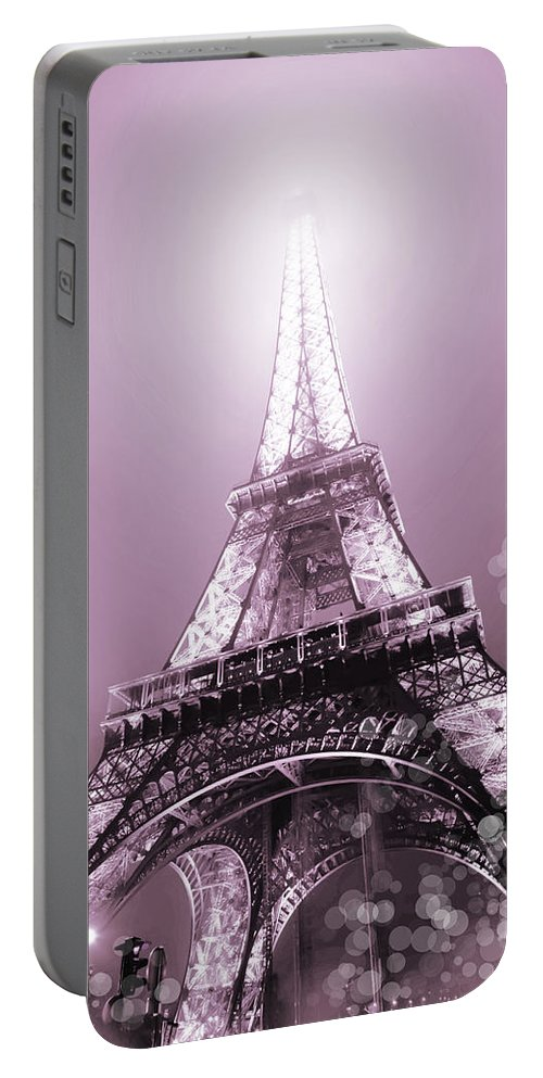 Evie Portable Battery Charger featuring the photograph Pink Eiffel Tower Paris by Evie Carrier