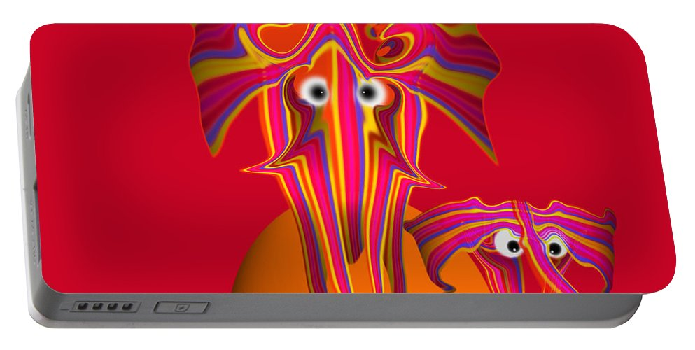 Africa Portable Battery Charger featuring the digital art Pink Elephants by Charles Stuart