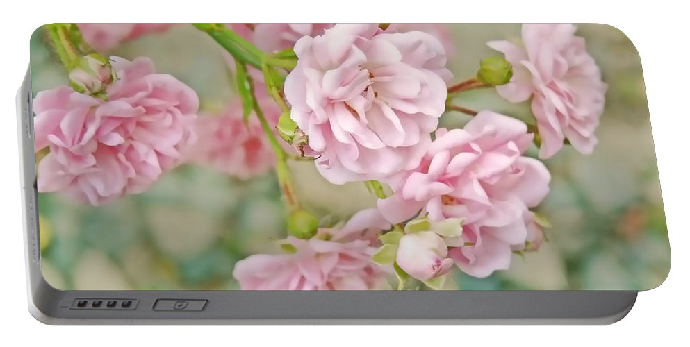 Rose Portable Battery Charger featuring the photograph Pink Fairy Roses by Jennie Marie Schell