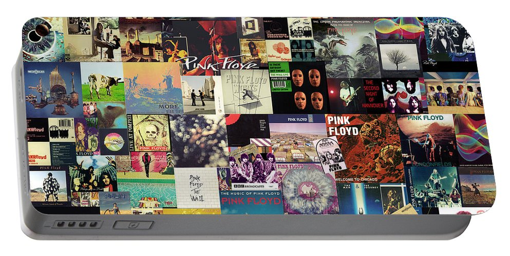 Pink Floyd Portable Battery Charger featuring the digital art Pink Floyd Collage I by Zapista OU