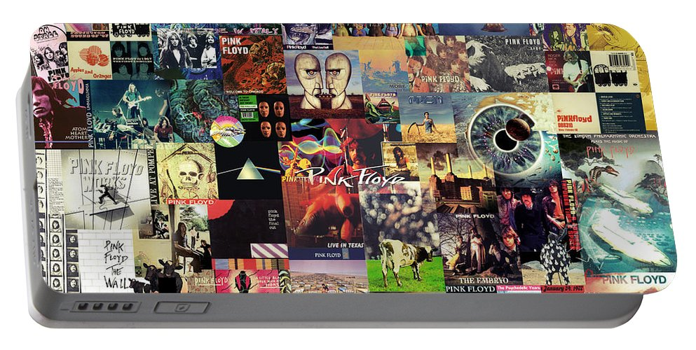 Pink Floyd Portable Battery Charger featuring the digital art Pink Floyd Collage II by Zapista OU