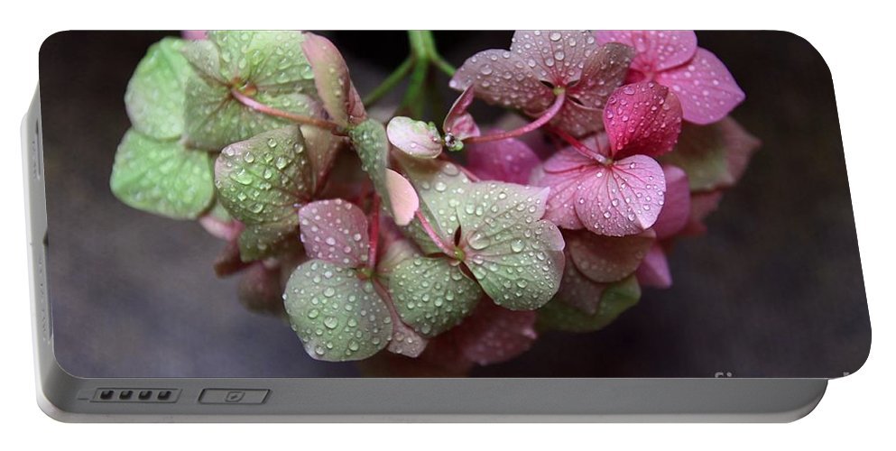 Green Portable Battery Charger featuring the photograph Pink Green And Rain by Jeremy Hayden