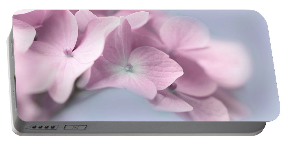 Hydrangea Portable Battery Charger featuring the photograph Pink Hydrangea Flower Macro by Jennie Marie Schell