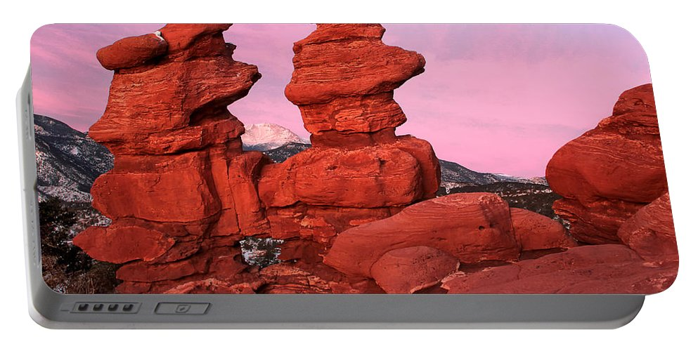 Garden Of The Gods Portable Battery Charger featuring the photograph Pink Morning by Ronda Kimbrow