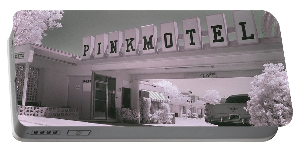 Portable Battery Charger featuring the photograph Pink Motel by Jennifer Ann Henry