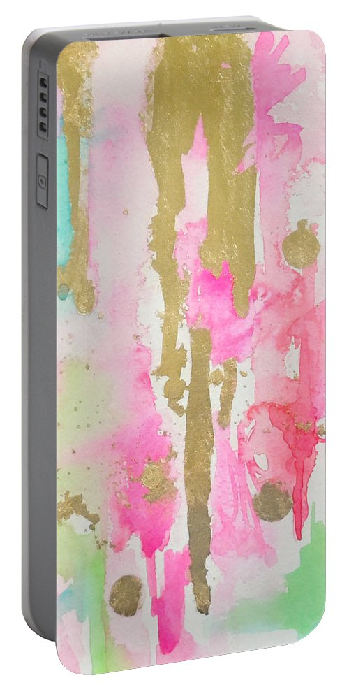 Abstract Painting Portable Battery Charger featuring the painting Pink N Glam by Roleen Senic
