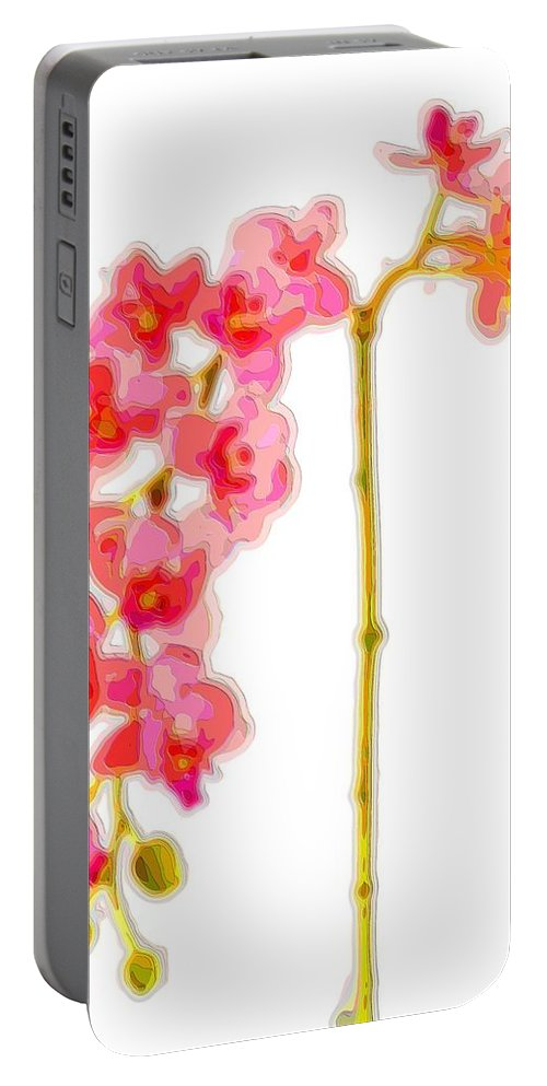 Orchid-art Portable Battery Charger featuring the digital art Pink Orchid by Mary Clanahan