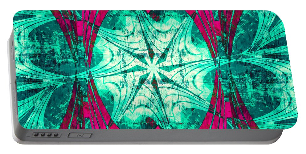 Abstract Portable Battery Charger featuring the digital art Pink Overlay by Carolyn Marshall