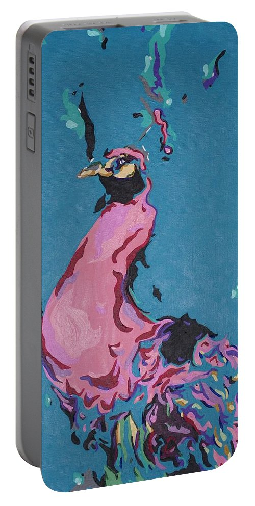 Acrylic Painting Portable Battery Charger featuring the painting Pink Peacock Full View by Laurie Pike