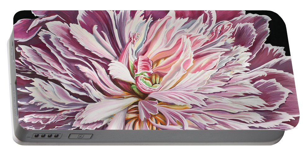 Flower Portable Battery Charger featuring the painting Pink Peony by Jane Girardot