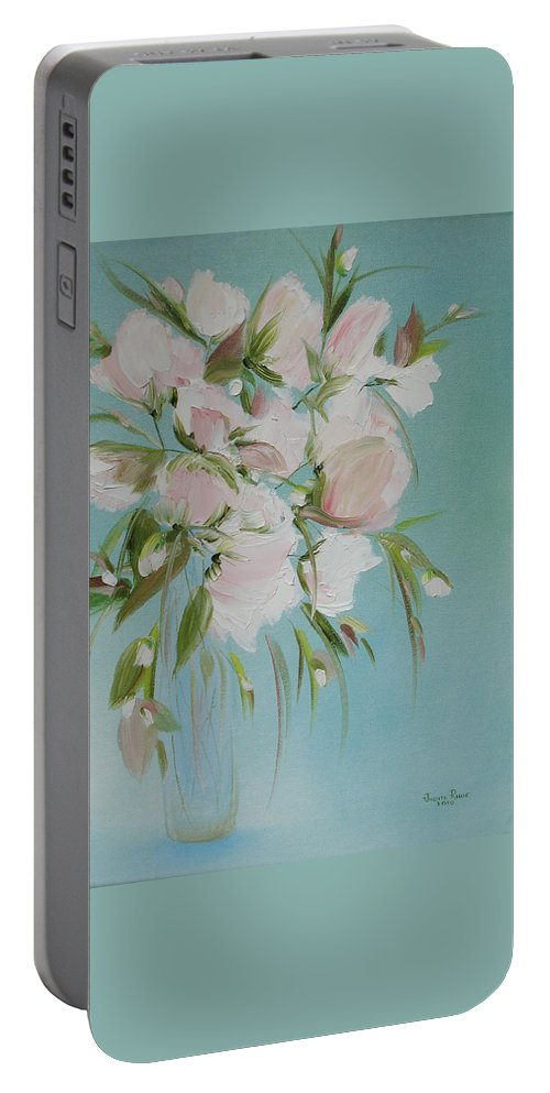 Flowers Portable Battery Charger featuring the painting Pink Petals by Judith Rhue
