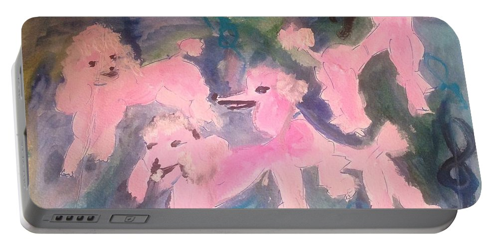 Poodle Portable Battery Charger featuring the painting Pink Poodle Polka by Judith Desrosiers