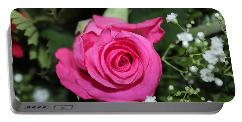 Pink Portable Battery Charger featuring the photograph Pink Rose Adds Colour by Perggals - Stacey Turner