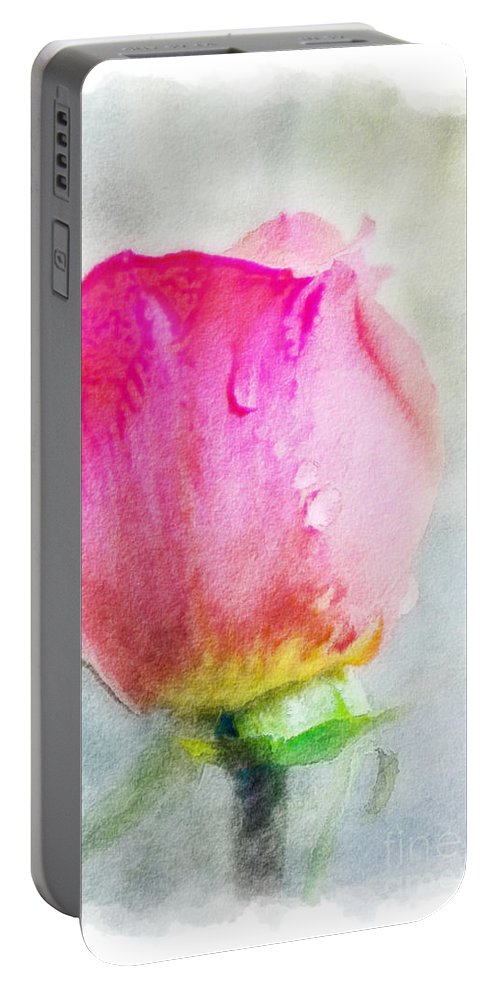 Nature Portable Battery Charger featuring the photograph Pink Rose Bud - Digital Paint II by Debbie Portwood