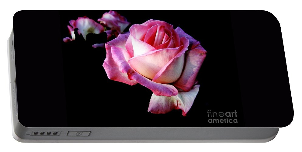 Pink Rose Portable Battery Charger featuring the photograph Pink Rose by Leanne Seymour