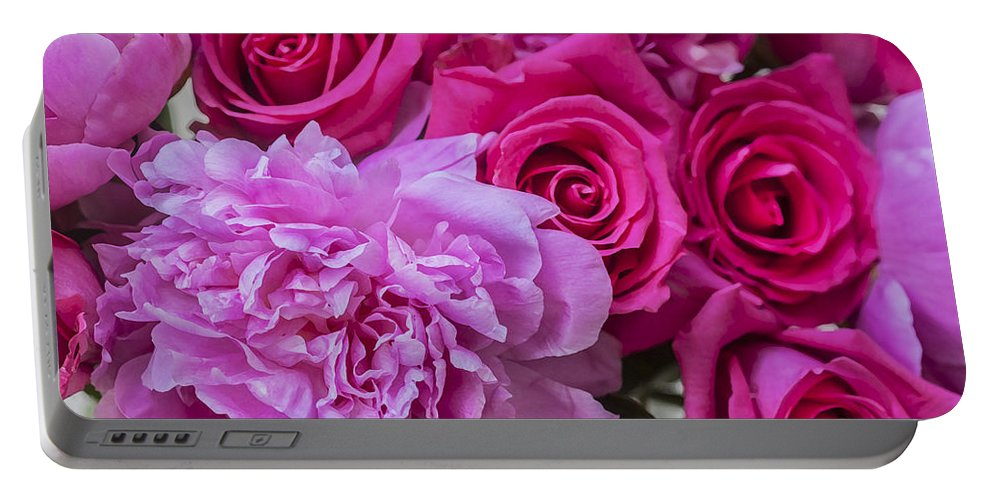 Pink Roses Portable Battery Charger featuring the photograph Pink Roses And Peonies Please by Rich Franco
