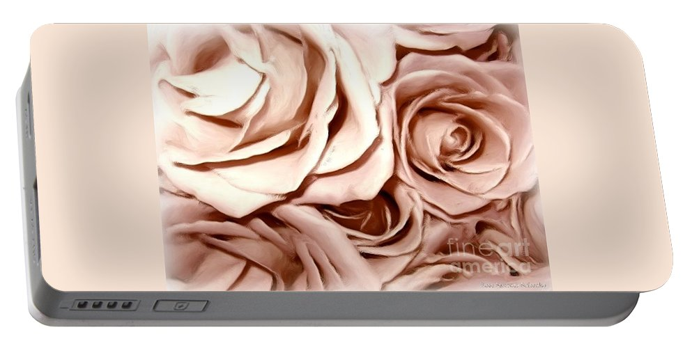 Pink Roses Portable Battery Charger featuring the photograph Pink Roses Bouquet Sketchbook Effect by Rose Santuci-Sofranko