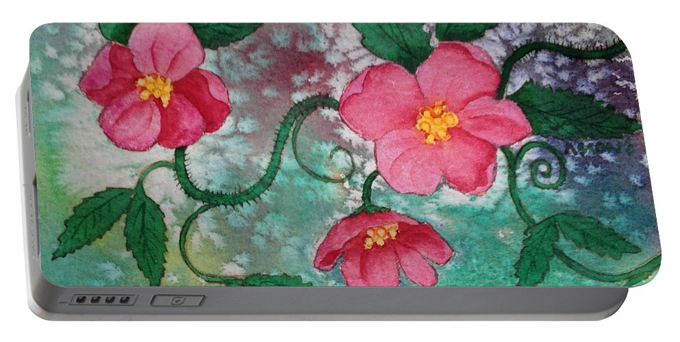 Pink Roses Portable Battery Charger featuring the painting Pink Roses by Teresa Ascone