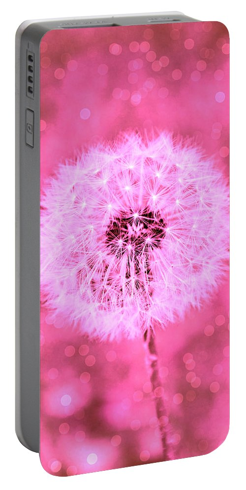 Dandelion Portable Battery Charger featuring the photograph Pink Sparkles by Tina Meador
