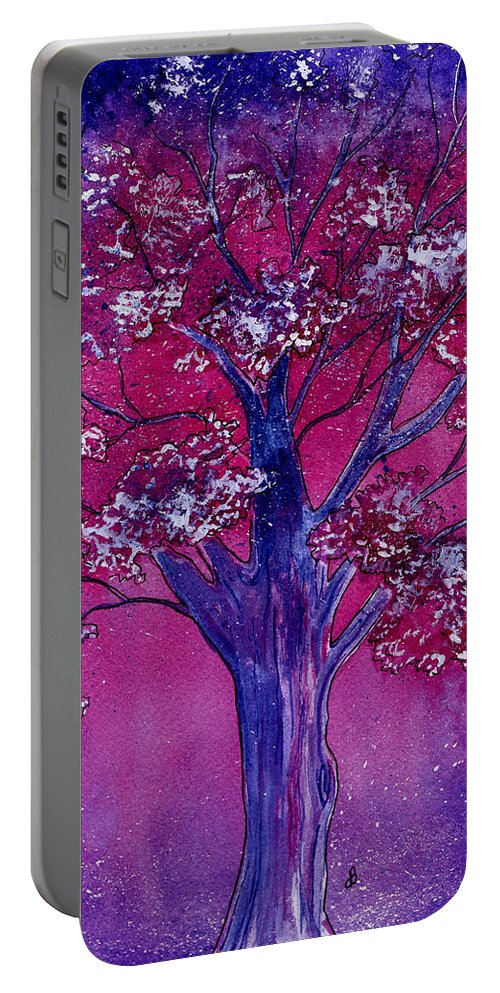 Watercolor Portable Battery Charger featuring the painting Pink Spring Awakening by Brenda Owen