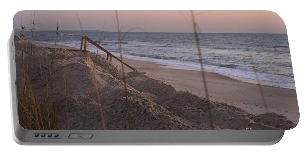 Pink Portable Battery Charger featuring the photograph Pink Sunrise On The Beach by Nadine Rippelmeyer