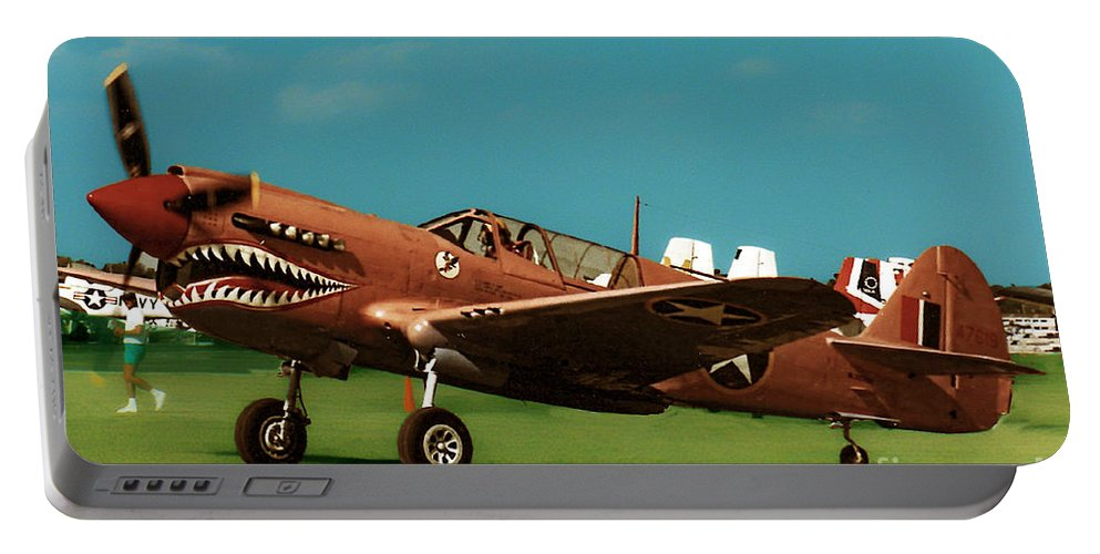 Curtis P-40 Warhawk Portable Battery Charger featuring the photograph Pink Tiger by Tommy Anderson